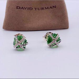 David Yurman CableWrap Prasiolite/Diamond Earrings